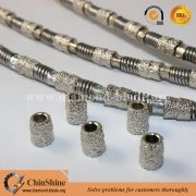 Vacuum brazed diamond wire saw for marble stone quarry cutting