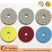 Flower type 3 step diamond wet polishing pads for engineered stone and quartz