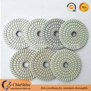 4 inch spiral white resin 7 step diamond wet polishing pads for granite and marble
