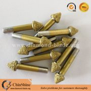 Vacuum brazed mushroom head diamond CNC grinding bits for stone